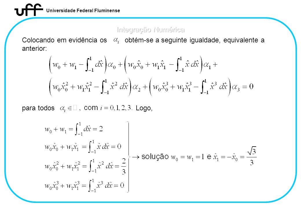 Universidade Federal Fluminense Colocando em evidência os obtém-se a seguinte igualdade, equivalente a anterior: para todos Logo,