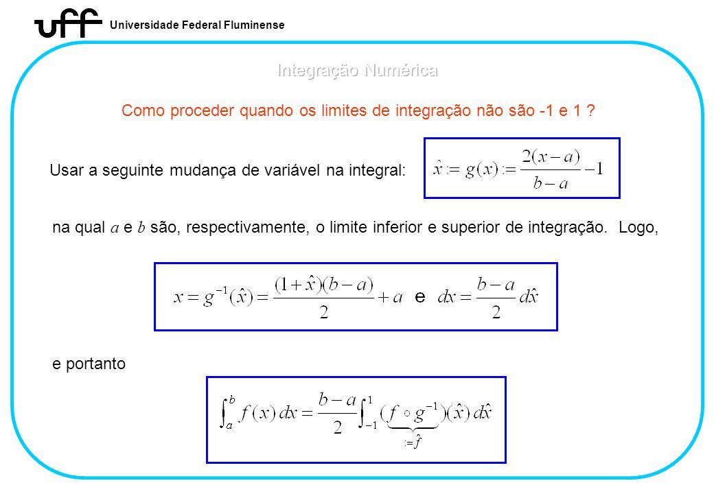 Universidade Federal Fluminense Como proceder quando os limites de integração não são -1 e 1 ? Usar a seguinte mudança de variável na integral: na qua