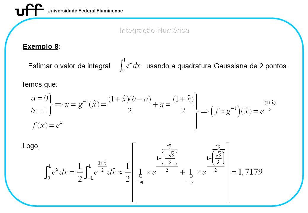 Universidade Federal Fluminense Exemplo 8: Estimar o valor da integral usando a quadratura Gaussiana de 2 pontos. Temos que: Logo,