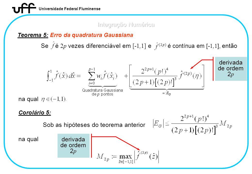 Universidade Federal Fluminense Teorema 5: Erro da quadratura Gaussiana derivada de ordem 2 p Corolário 5: Sob as hipóteses do teorema anterior na qua