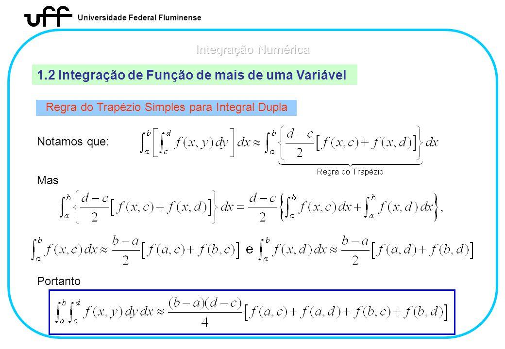 Universidade Federal Fluminense 1.2 Integração de Função de mais de uma Variável Regra do Trapézio Simples para Integral Dupla Notamos que: Mas Portan