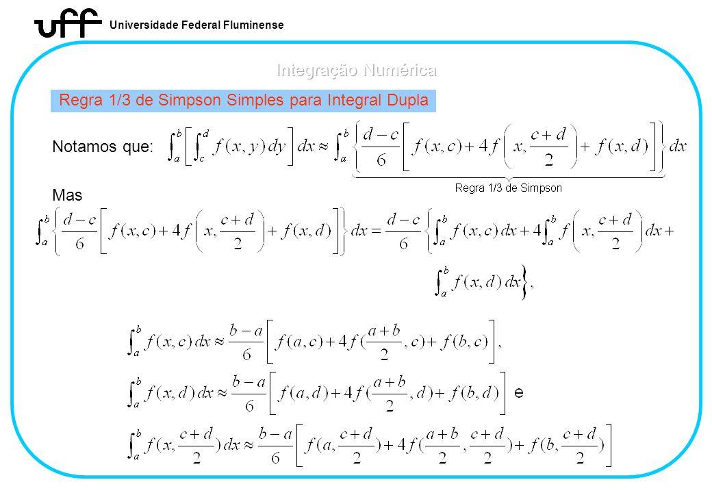 Universidade Federal Fluminense Regra 1/3 de Simpson Simples para Integral Dupla Notamos que: Mas