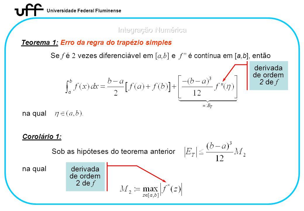 Universidade Federal Fluminense Teorema 1: Erro da regra do trapézio simples Se f é 2 vezes diferenciável em [a,b] e f é contínua em [a,b], então na q