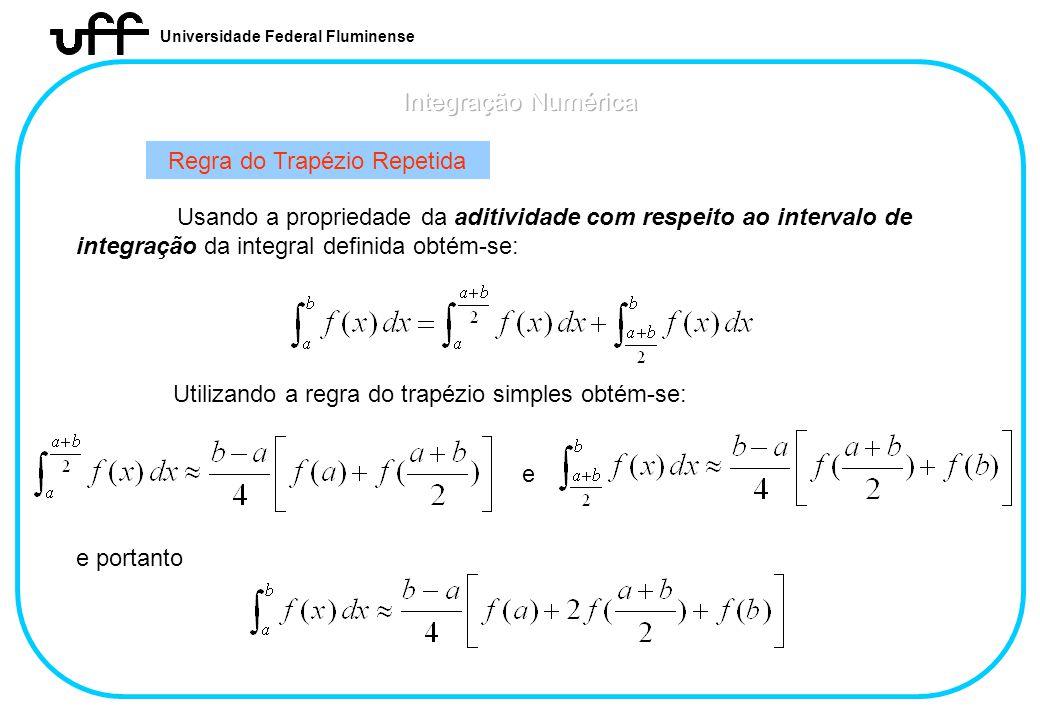 Universidade Federal Fluminense Regra do Trapézio Repetida Usando a propriedade da aditividade com respeito ao intervalo de integração da integral def