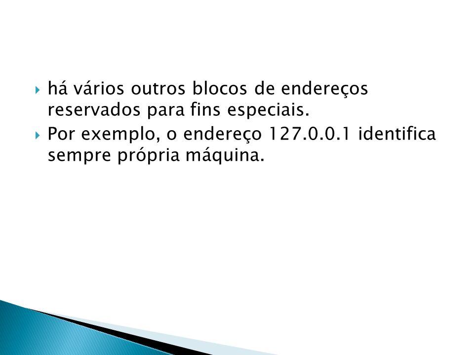 há vários outros blocos de endereços reservados para fins especiais. Por exemplo, o endereço 127.0.0.1 identifica sempre própria máquina.