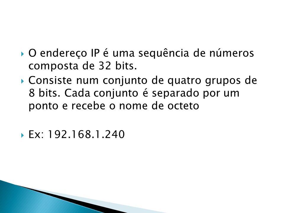 O endereço IP é uma sequência de números composta de 32 bits. Consiste num conjunto de quatro grupos de 8 bits. Cada conjunto é separado por um ponto