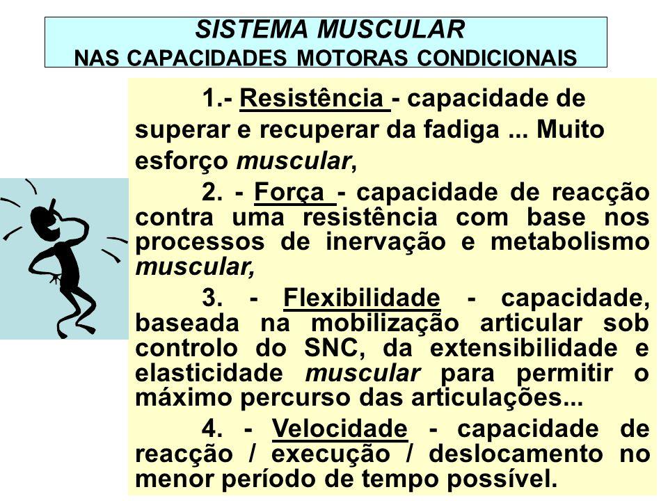 SISTEMA MUSCULAR NAS CAPACIDADES MOTORAS CONDICIONAIS 1.- Resistência - capacidade de superar e recuperar da fadiga... Muito esforço muscular, 2. - Fo