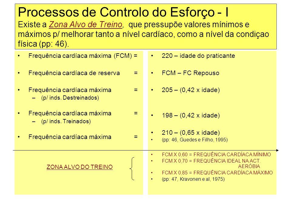 Processos de Controlo do Esforço - I Existe a Zona Alvo de Treino, que pressupõe valores mínimos e máximos p/ melhorar tanto a nível cardíaco, como a nível da condiçao física (pp: 46).