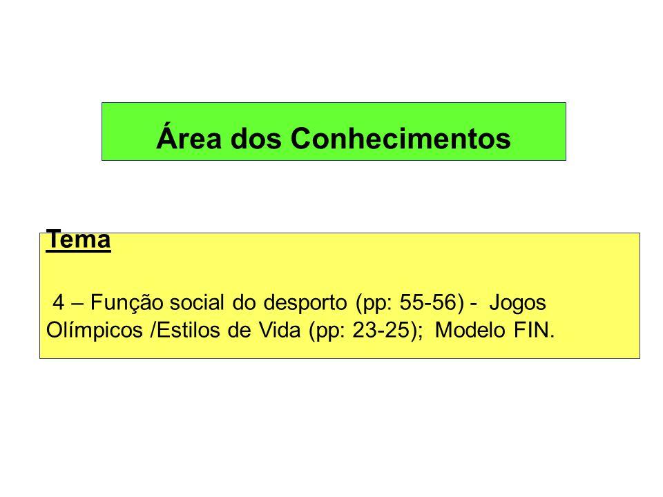 Área dos Conhecimentos Tema 4 – Função social do desporto (pp: 55-56) - Jogos Olímpicos /Estilos de Vida (pp: 23-25); Modelo FIN.