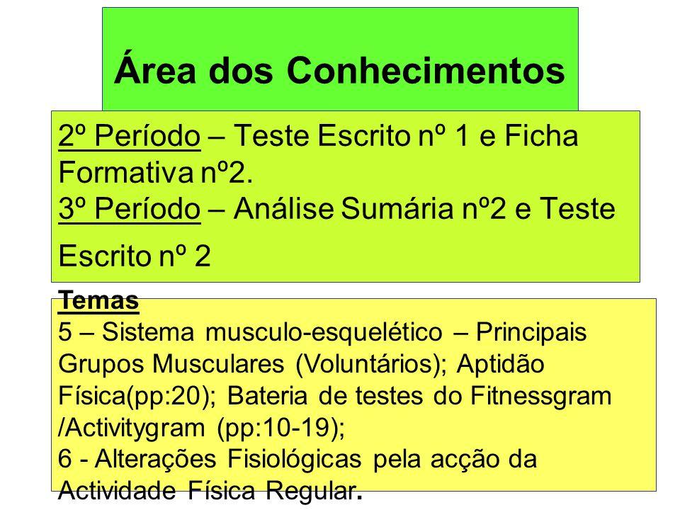 Área dos Conhecimentos 2º Período – Teste Escrito nº 1 e Ficha Formativa nº2.