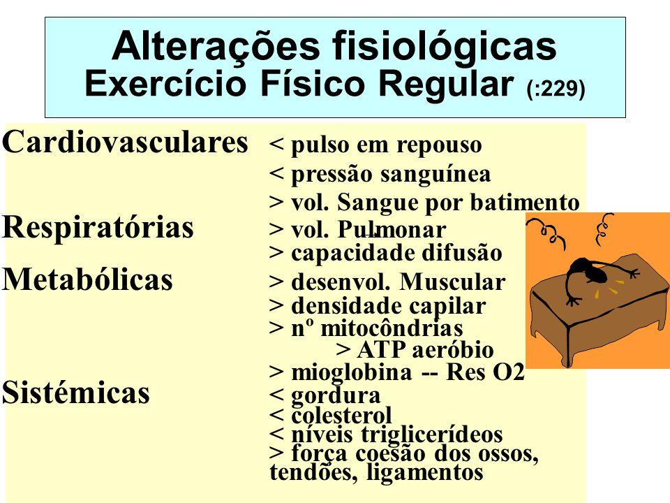 Alterações fisiológicas Exercício Físico Regular (:229) Cardiovasculares < pulso em repouso < pressão sanguínea > vol. Sangue por batimento Respiratór