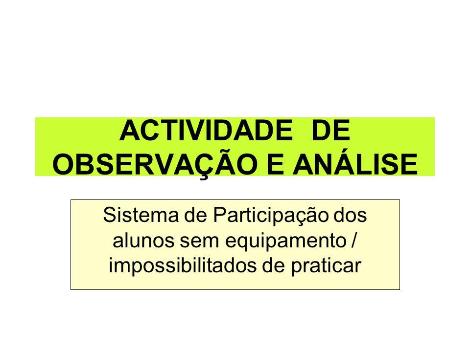 ACTIVIDADE DE OBSERVAÇÃO E ANÁLISE Sistema de Participação dos alunos sem equipamento / impossibilitados de praticar