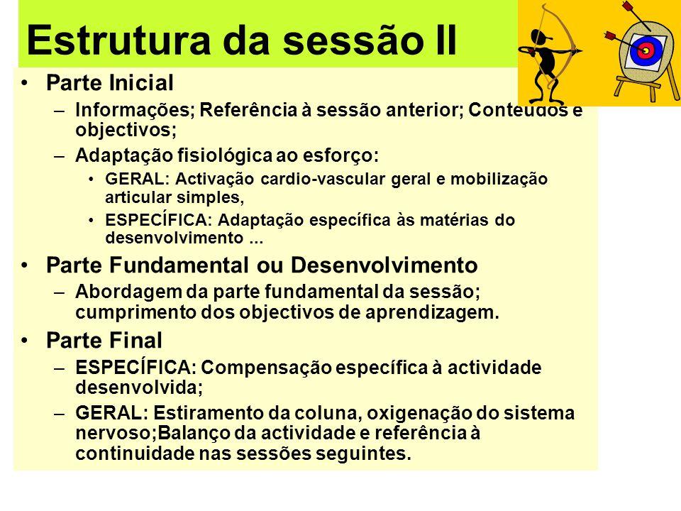 Estrutura da sessão II Parte Inicial –Informações; Referência à sessão anterior; Conteúdos e objectivos; –Adaptação fisiológica ao esforço: GERAL: Act