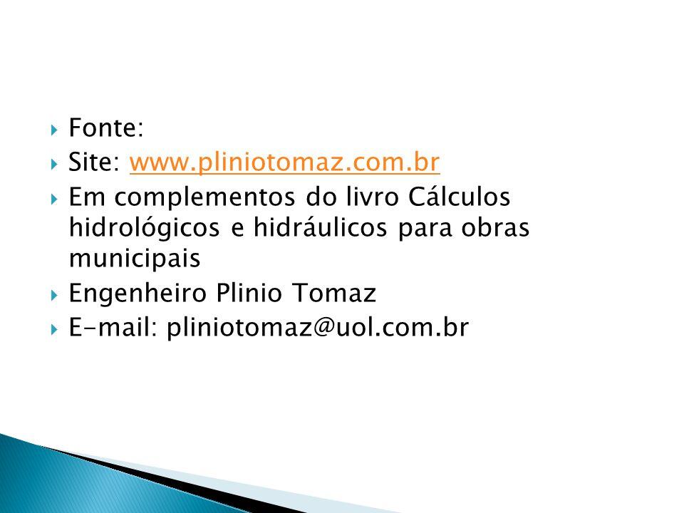 Fonte: Site: www.pliniotomaz.com.brwww.pliniotomaz.com.br Em complementos do livro Cálculos hidrológicos e hidráulicos para obras municipais Engenheir