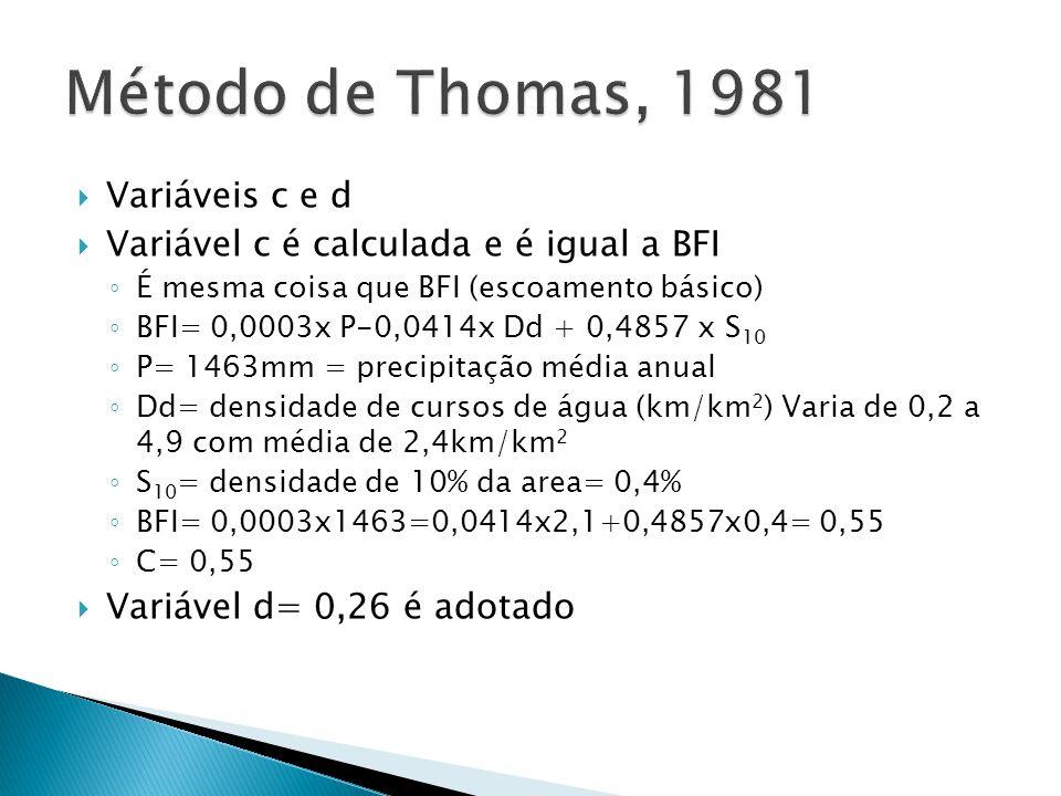 Variáveis c e d Variável c é calculada e é igual a BFI É mesma coisa que BFI (escoamento básico) BFI= 0,0003x P-0,0414x Dd + 0,4857 x S 10 P= 1463mm =