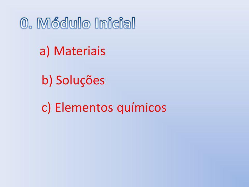 a) Materiais b) Soluções c) Elementos químicos