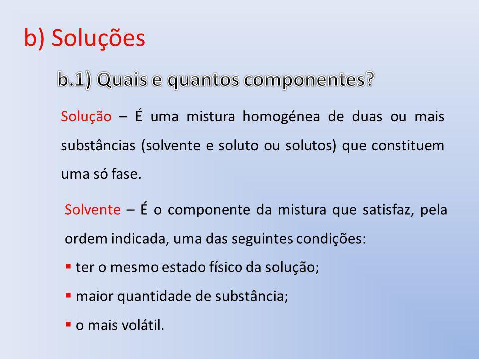 b) Soluções Solução – É uma mistura homogénea de duas ou mais substâncias (solvente e soluto ou solutos) que constituem uma só fase. Solvente – É o co