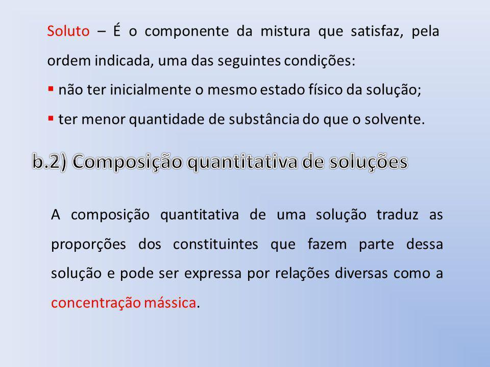 Soluto – É o componente da mistura que satisfaz, pela ordem indicada, uma das seguintes condições: não ter inicialmente o mesmo estado físico da soluç