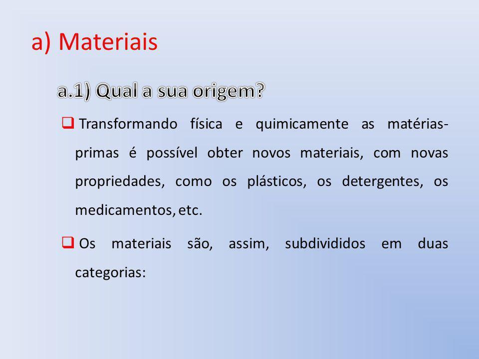 a) Materiais Transformando física e quimicamente as matérias- primas é possível obter novos materiais, com novas propriedades, como os plásticos, os d