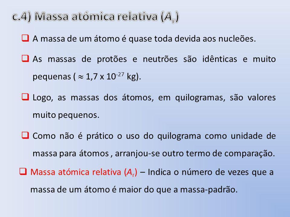 A massa de um átomo é quase toda devida aos nucleões. As massas de protões e neutrões são idênticas e muito pequenas ( 1,7 x 10 -27 kg). Logo, as mass