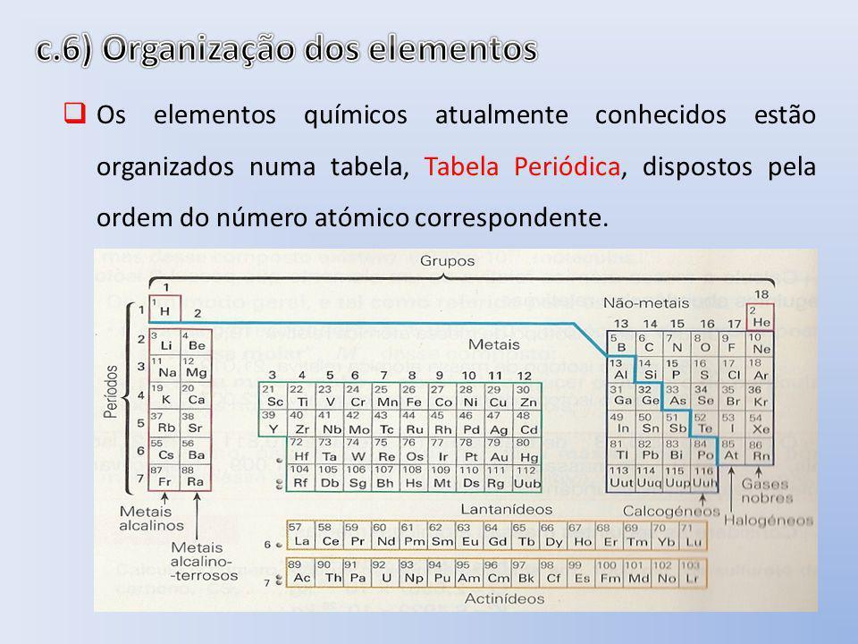 Os elementos químicos atualmente conhecidos estão organizados numa tabela, Tabela Periódica, dispostos pela ordem do número atómico correspondente.