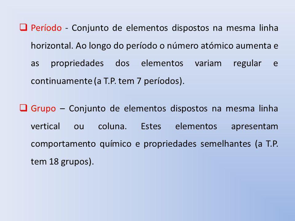 Período - Conjunto de elementos dispostos na mesma linha horizontal. Ao longo do período o número atómico aumenta e as propriedades dos elementos vari