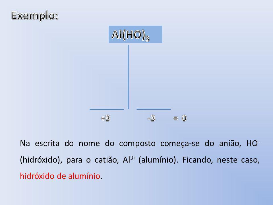 Na escrita do nome do composto começa-se do anião, HO - (hidróxido), para o catião, Al 3+ (alumínio). Ficando, neste caso, hidróxido de alumínio.