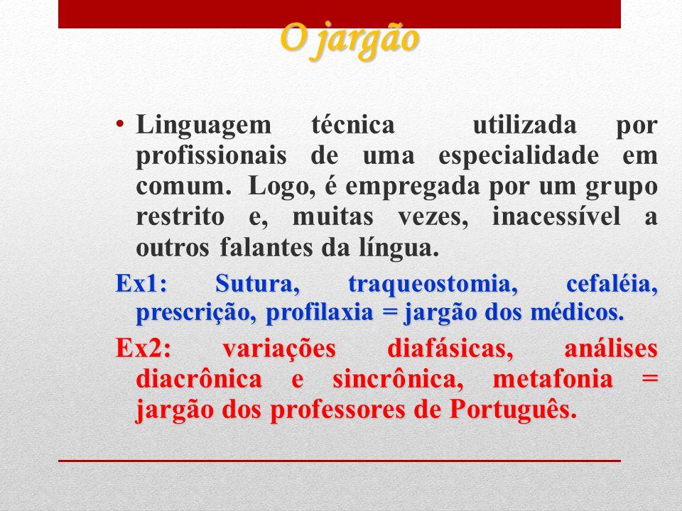2.2 Variedades Sócio- culturais 2.2.1 Variedades devidas ao falante/ grupos culturais; -O jargão; -A gíria.