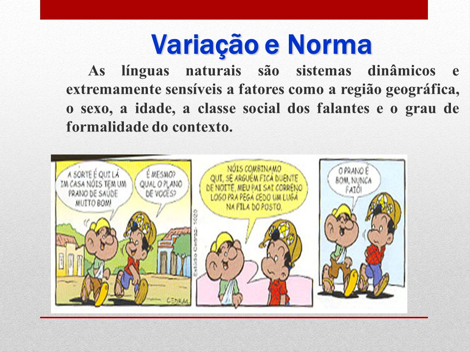 Variação e Norma As línguas naturais são sistemas dinâmicos e extremamente sensíveis a fatores como a região geográfica, o sexo, a idade, a classe social dos falantes e o grau de formalidade do contexto.