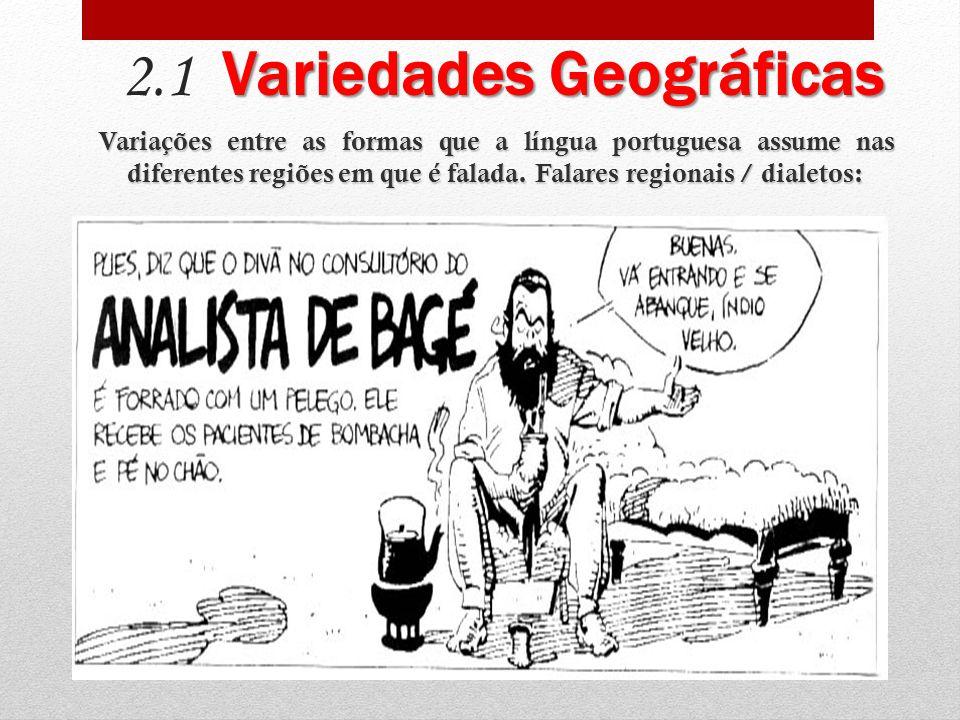 Variedades Geográficas 2.1 Variedades Geográficas Variações entre as formas que a língua portuguesa assume nas diferentes regiões em que é falada.