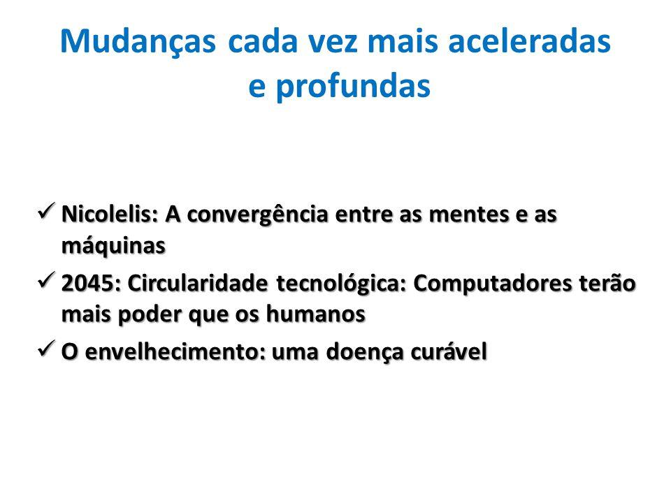 Mudanças cada vez mais aceleradas e profundas Nicolelis: A convergência entre as mentes e as máquinas Nicolelis: A convergência entre as mentes e as m