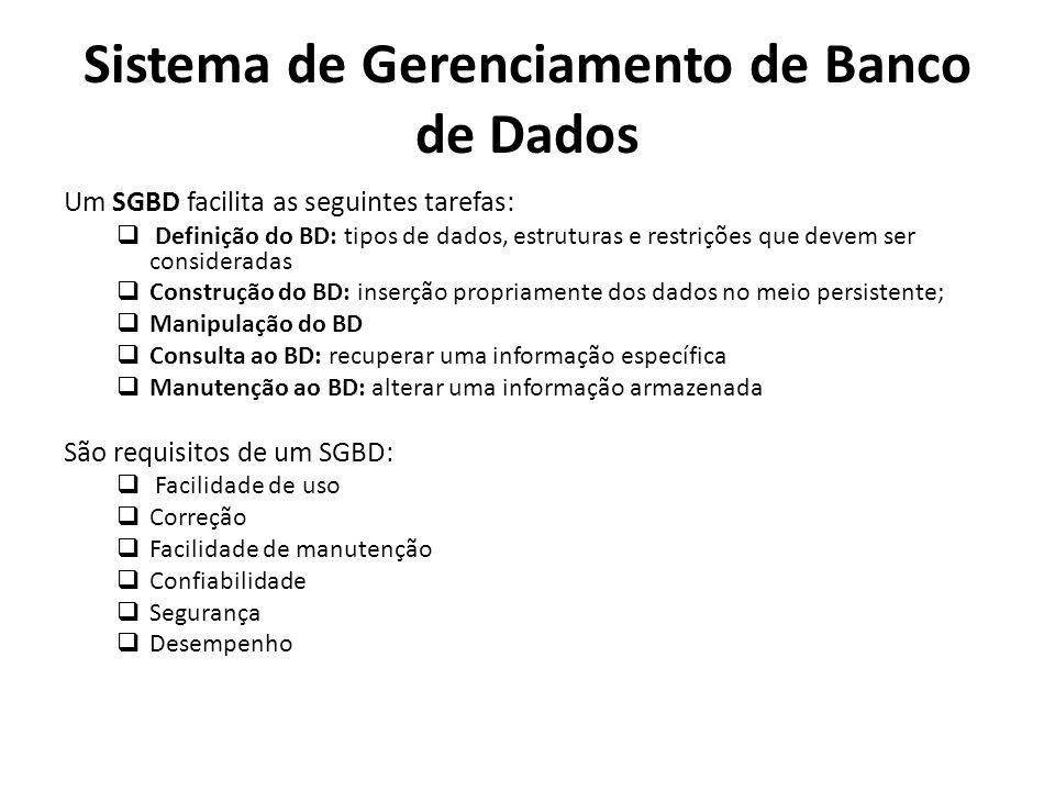 Um SGBD facilita as seguintes tarefas: Definição do BD: tipos de dados, estruturas e restrições que devem ser consideradas Construção do BD: inserção
