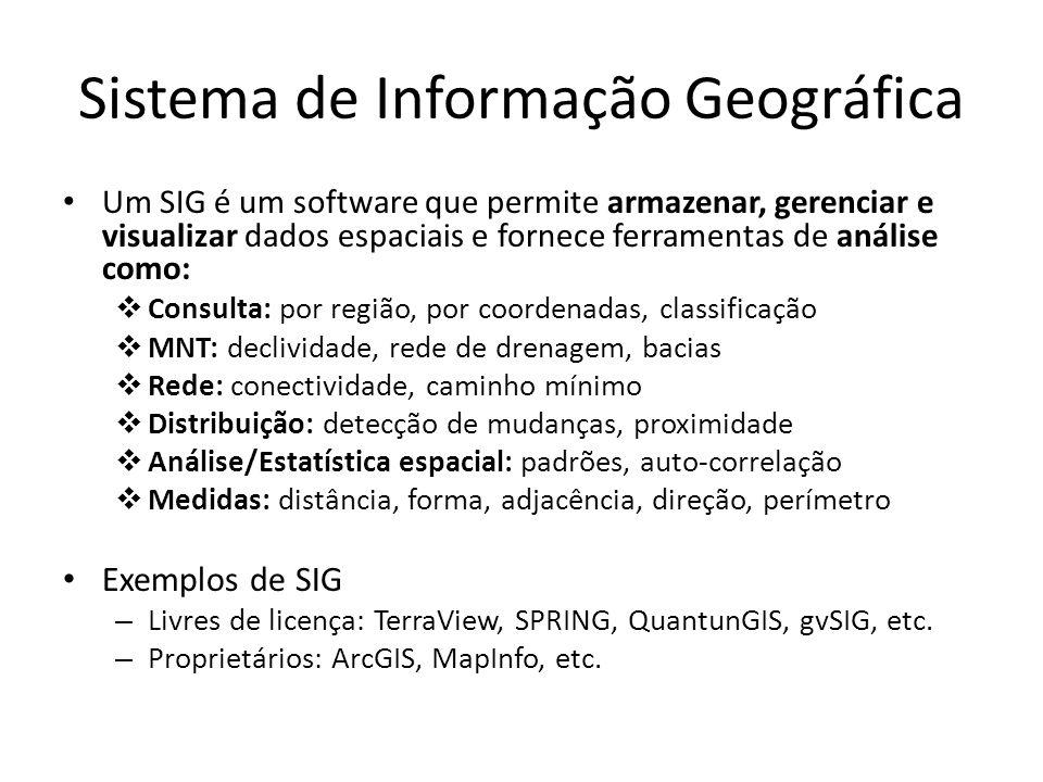 Sistema de Informação Geográfica Um SIG é um software que permite armazenar, gerenciar e visualizar dados espaciais e fornece ferramentas de análise c