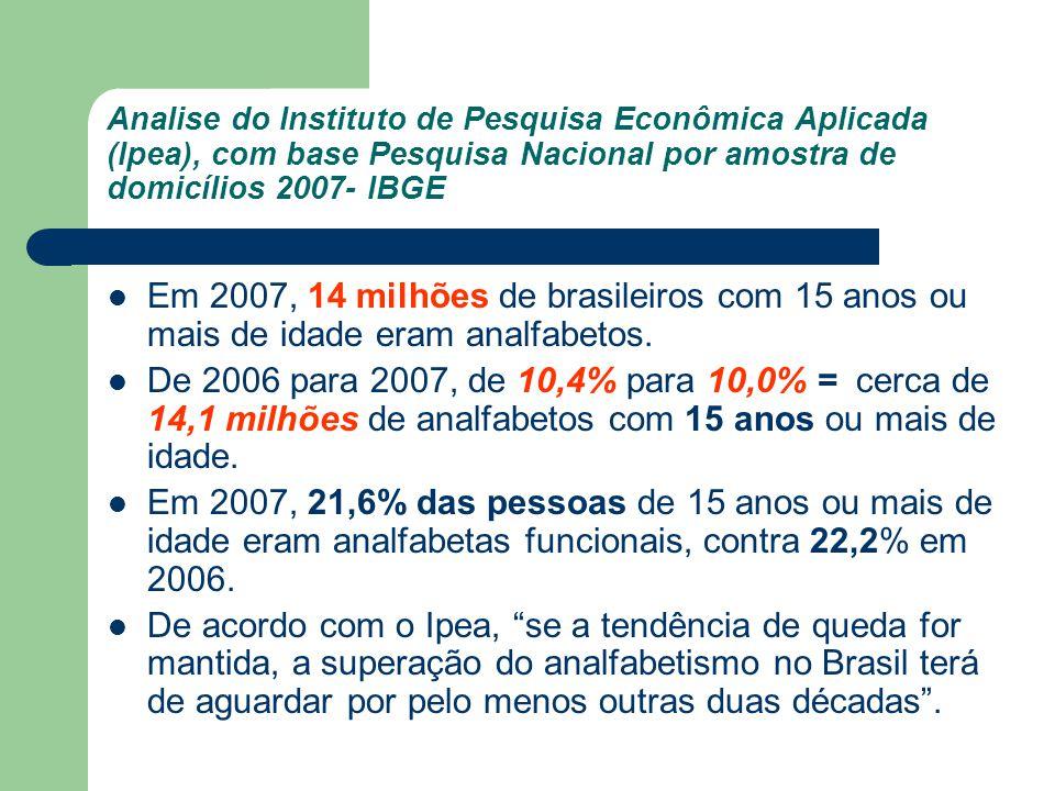 Analise do Instituto de Pesquisa Econômica Aplicada (Ipea), com base Pesquisa Nacional por amostra de domicílios 2007- IBGE Em 2007, 14 milhões de bra