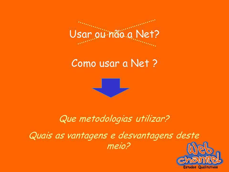 Usar ou não a Net? Como usar a Net ? Que metodologias utilizar? Quais as vantagens e desvantagens deste meio?