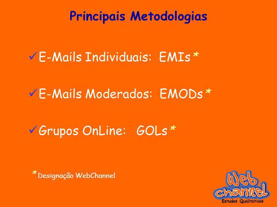 Principais Metodologias E-Mails Individuais: EMIs* E-Mails Moderados: EMODs* Grupos OnLine: GOLs* * Designação WebChannel
