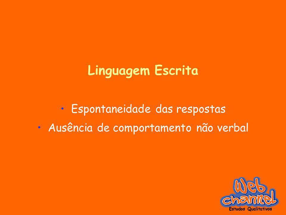Linguagem Escrita Espontaneidade das respostas Ausência de comportamento não verbal
