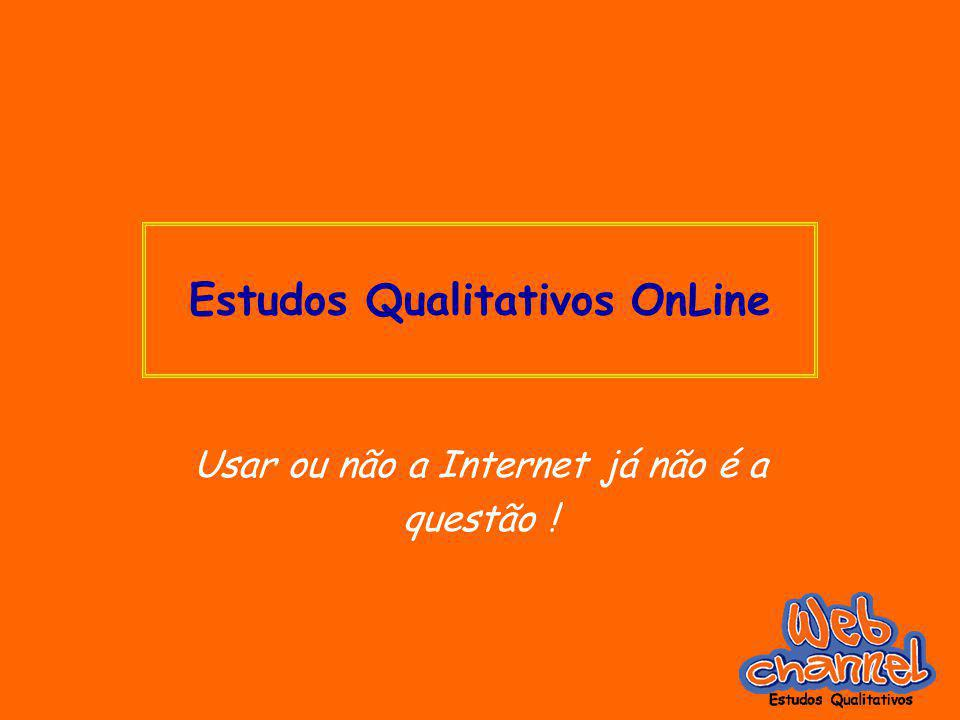 Estudos Qualitativos OnLine Usar ou não a Internet já não é a questão !