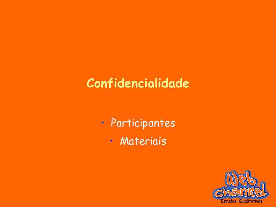Confidencialidade Participantes Materiais