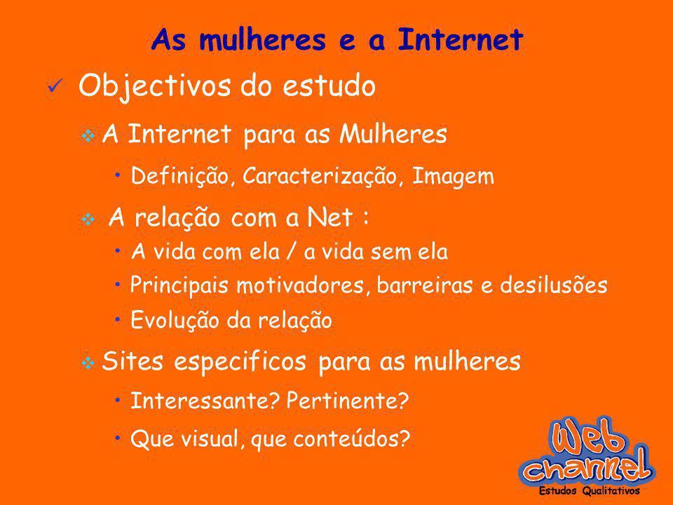 As mulheres e a Internet Objectivos do estudo A Internet para as Mulheres Definição, Caracterização, Imagem A relação com a Net : A vida com ela / a v