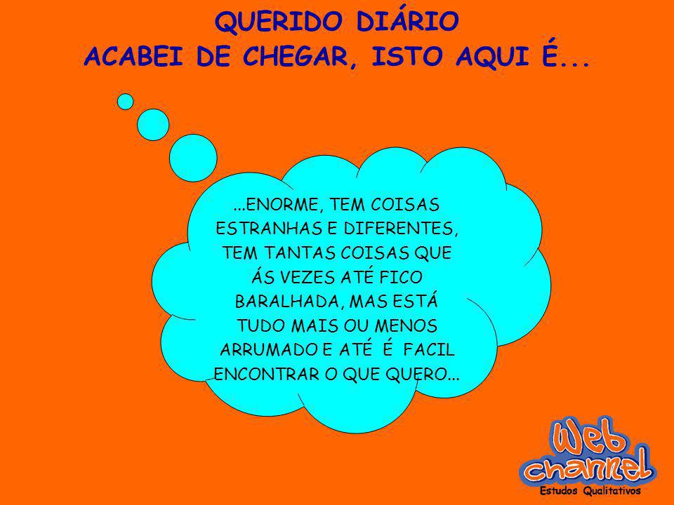 QUERIDO DIÁRIO ACABEI DE CHEGAR, ISTO AQUI É......ENORME, TEM COISAS ESTRANHAS E DIFERENTES, TEM TANTAS COISAS QUE ÁS VEZES ATÉ FICO BARALHADA, MAS ES