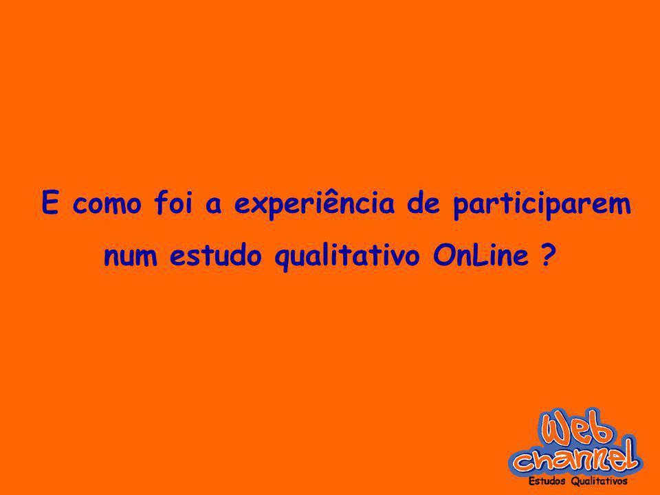 E como foi a experiência de participarem num estudo qualitativo OnLine ?