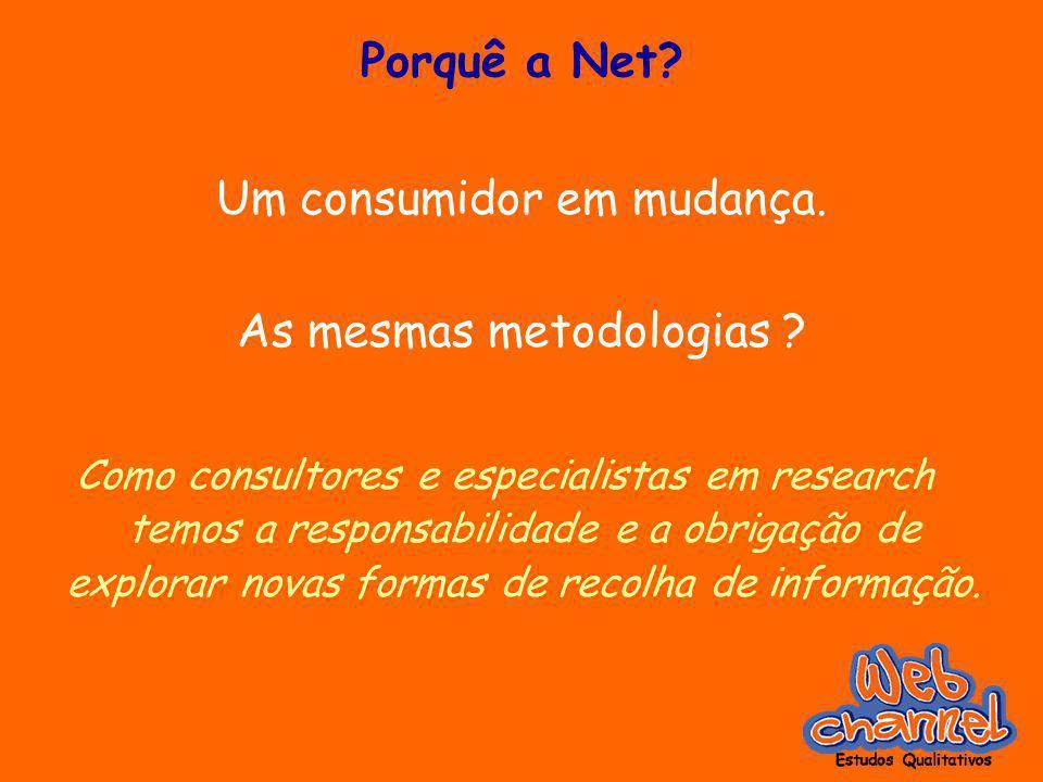 Porquê a Net? Um consumidor em mudança. As mesmas metodologias ? Como consultores e especialistas em research temos a responsabilidade e a obrigação d
