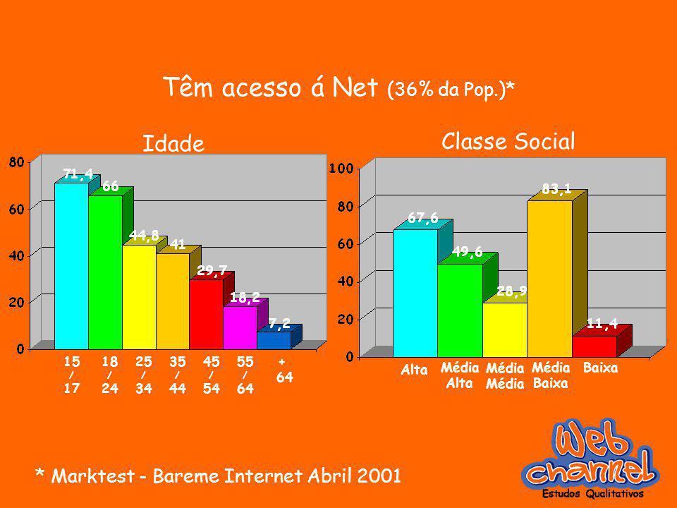 Têm acesso á Net (36% da Pop.)* * Marktest - Bareme Internet Abril 2001 15 / 17 18 / 24 25 / 34 35 / 44 45 / 54 55 / 64 + 64 Idade Classe Social Alta Média Alta Média Baixa