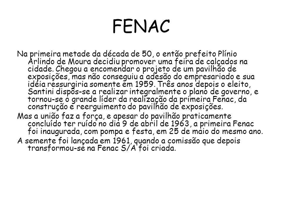 FENAC Na primeira metade da década de 50, o então prefeito Plínio Arlindo de Moura decidiu promover uma feira de calçados na cidade.
