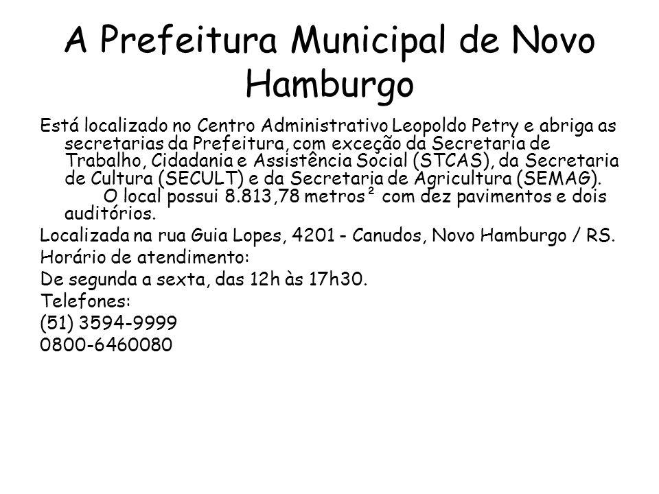 A Prefeitura Municipal de Novo Hamburgo Está localizado no Centro Administrativo Leopoldo Petry e abriga as secretarias da Prefeitura, com exceção da Secretaria de Trabalho, Cidadania e Assistência Social (STCAS), da Secretaria de Cultura (SECULT) e da Secretaria de Agricultura (SEMAG).