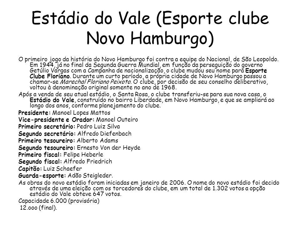 Estádio do Vale (Esporte clube Novo Hamburgo) O primeiro jogo da história do Novo Hamburgo foi contra a equipe do Nacional, de São Leopoldo.