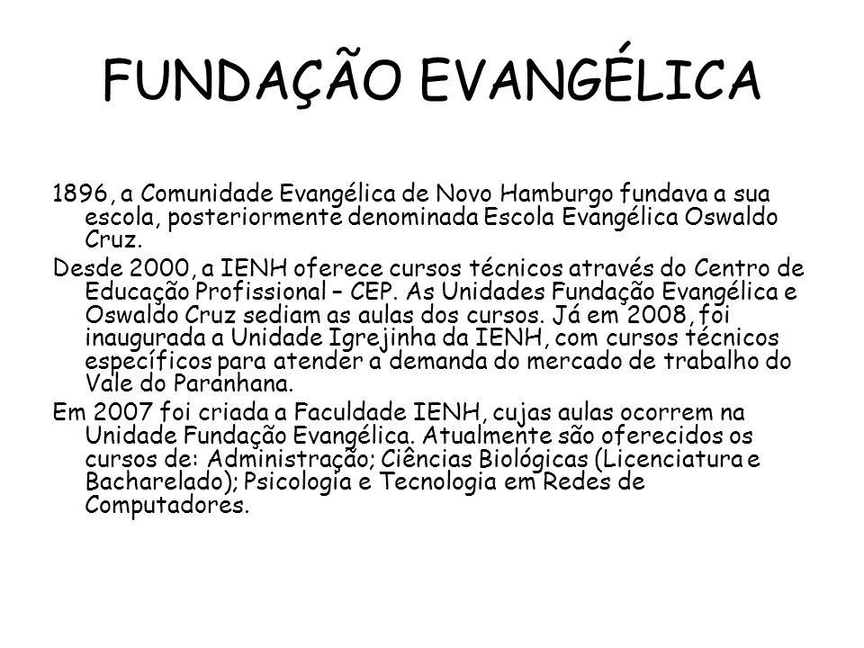 FUNDAÇÃO EVANGÉLICA 1896, a Comunidade Evangélica de Novo Hamburgo fundava a sua escola, posteriormente denominada Escola Evangélica Oswaldo Cruz.