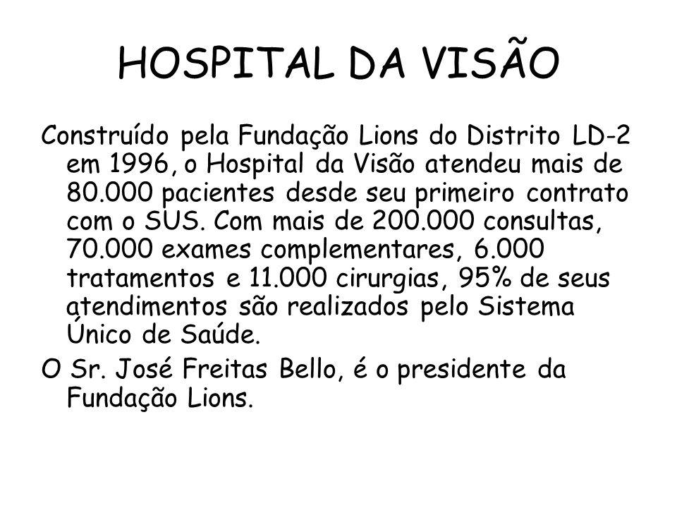 HOSPITAL DA VISÃO Construído pela Fundação Lions do Distrito LD-2 em 1996, o Hospital da Visão atendeu mais de 80.000 pacientes desde seu primeiro contrato com o SUS.