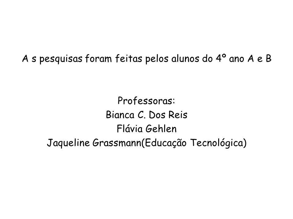 A s pesquisas foram feitas pelos alunos do 4º ano A e B Professoras: Bianca C.